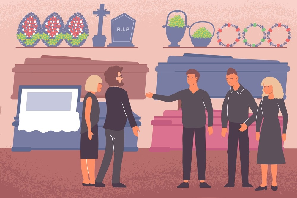 browsing products and services at a funeral home