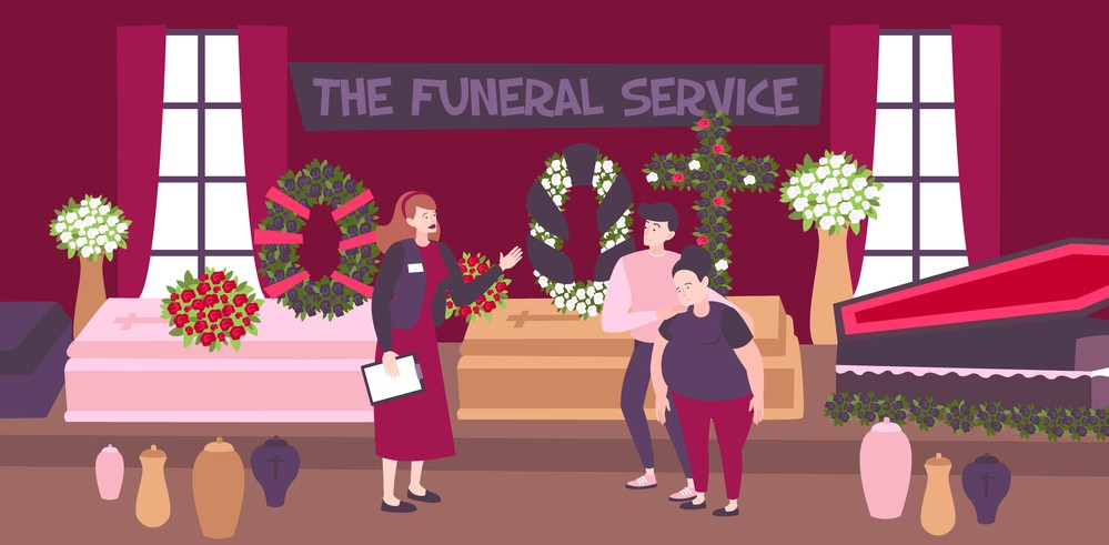 funeral service with family members