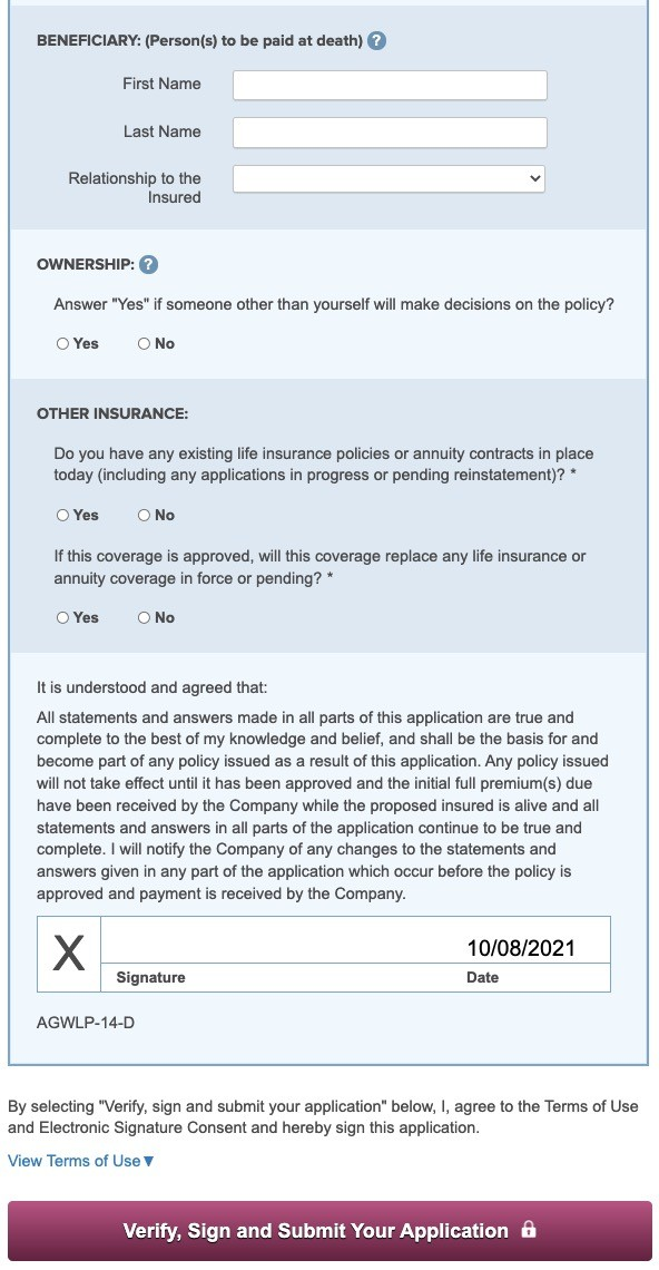 Geber Life Guaranteed Acceptance Application Page 2