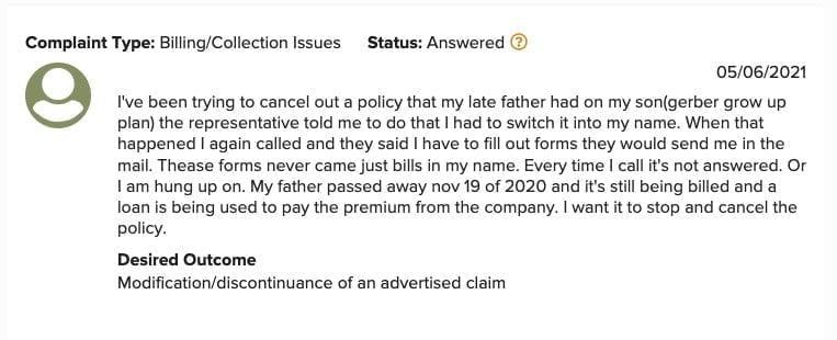 Gerber Life Customer Complaint 1