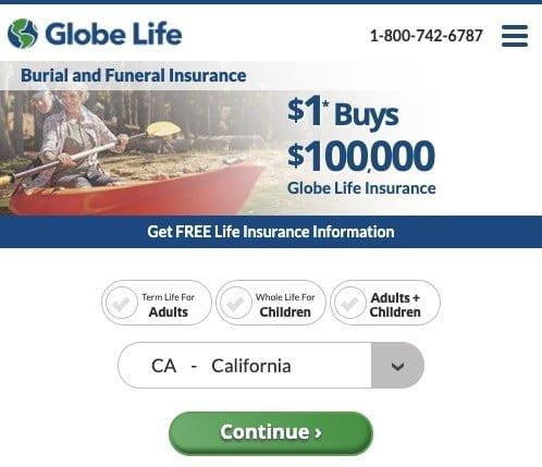 Globe Burial insurance landing page