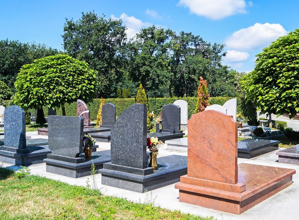 Marble headstones in a cemetery