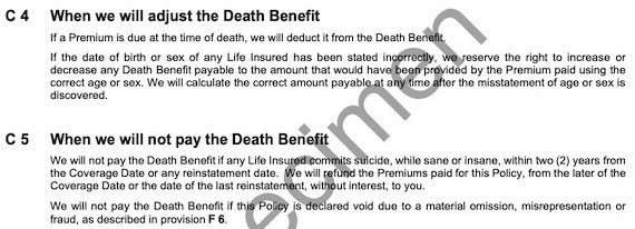 RBC Term Policy -- Death Benefit Exclusion